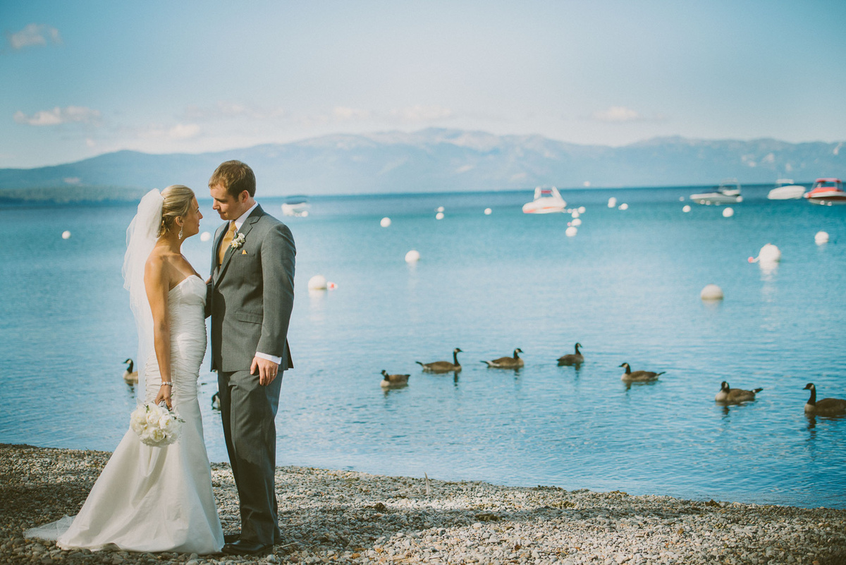 newlyweds at lake Tahoe